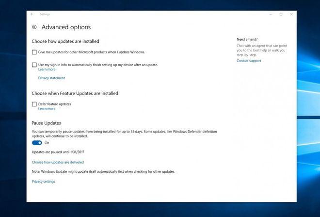 Com o Creators Update, usuários poderão interromper download e instalação de atualizações no Windows 10 por até 35 dias