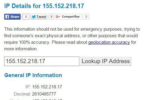Descobrir a localização de um IP