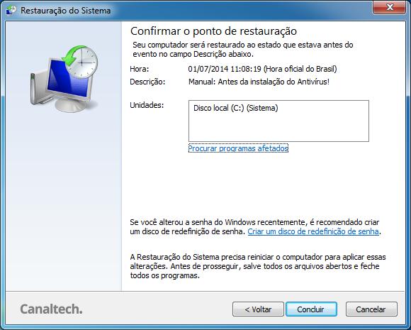 Confirmação Restauração do Sistema Windows 7