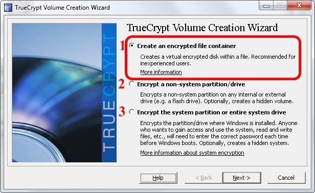 2 - Escolha do tipo de criptografia