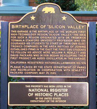 Placa do nascimento do Vale do Silício