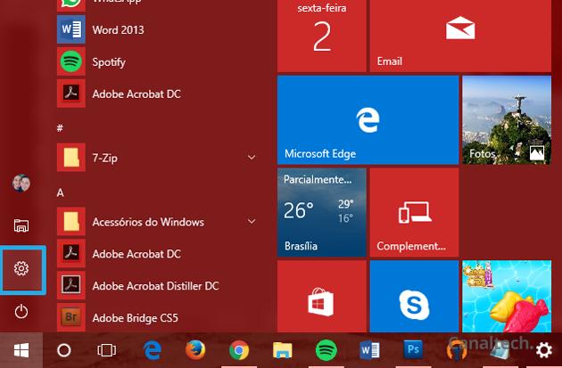 O menu Configurações do Windows 10 pode ser acessado a partir do menu Iniciar