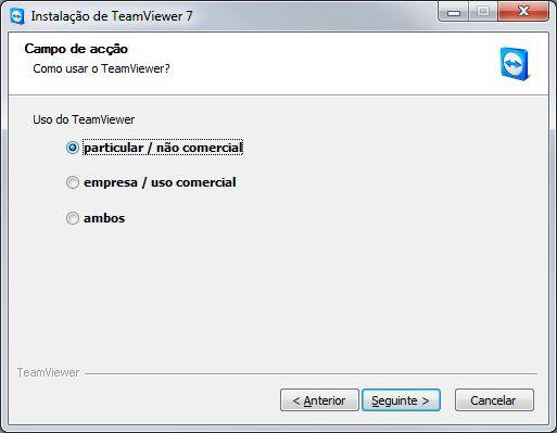 Escolha de uso do Teamviewer