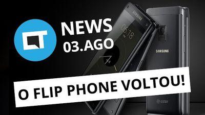 Samsung anuncia novo celular flip; Envio de dinheiro pelo Skype e + [CT News]