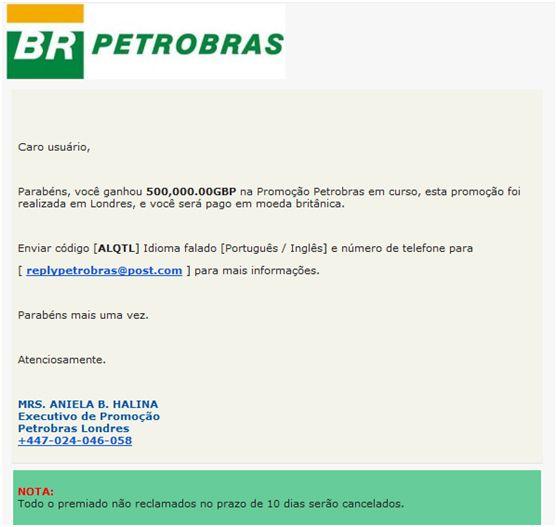 Golpe usando nome da Petrobras