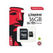 Cartão de Memória 16GB Micro SD Kingston Classe 10 - com Adaptador Canvas Select