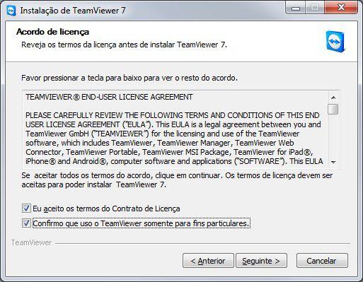 Licença de uso do Teamviewer