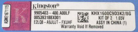 Etiqueta Memórias Kingston HyperX 8 GB DDR3 1600 MHz Dual Channel Genesis