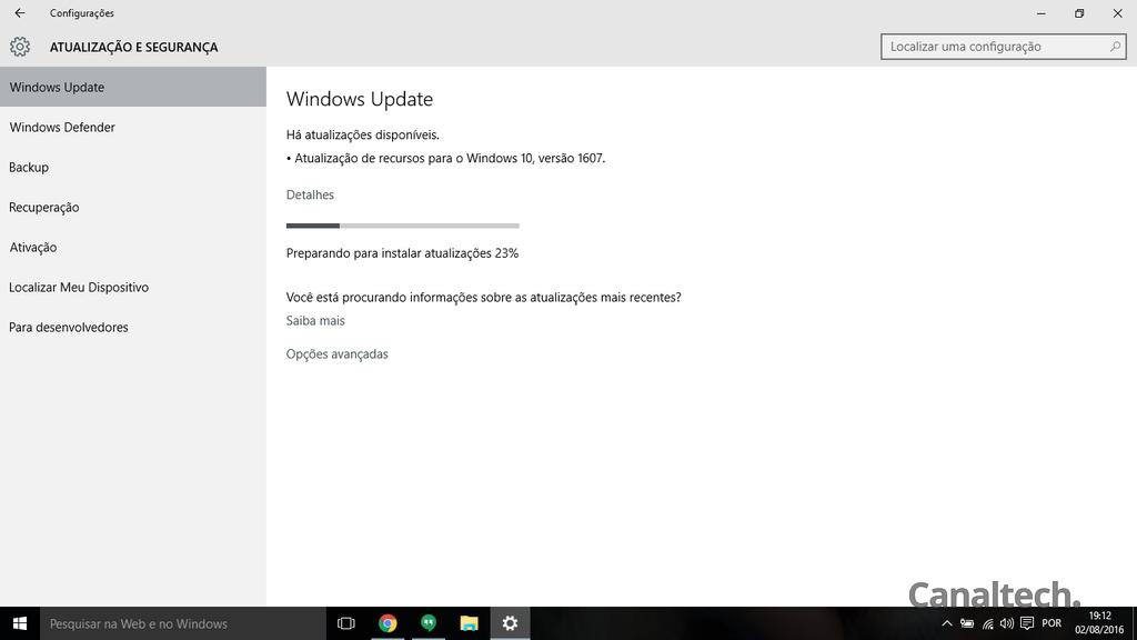 Windows 10 atualização de aniversário
