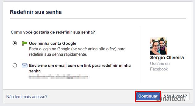 Agora, selecione a melhor forma de o Facebook contatar você para redefinir sua senha de acesso à conta. Caso não tenha acesso ao seu e-mail ou telefone, clique na opção