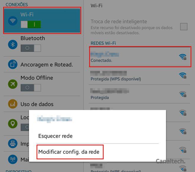 No Android, você terá de modificar o servidor DNS para cada conexão do seu dispositivo