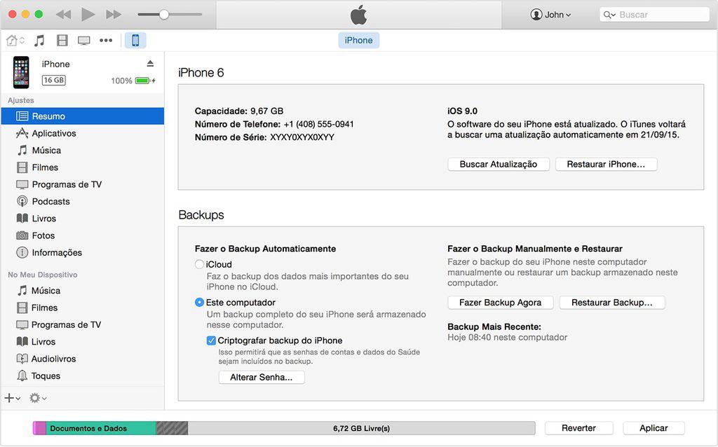 Backup do iPhone e iPad pelo iTunes
