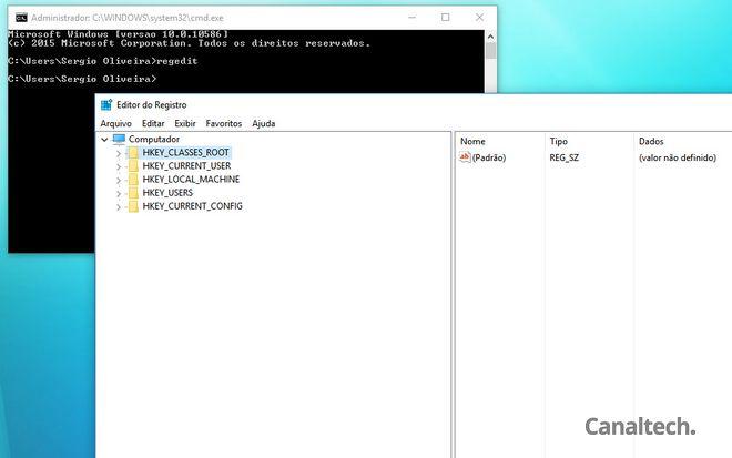 O editor de registro é um velho conhecido dos usuários do Windows e pode ser acessado usando o comando regedit
