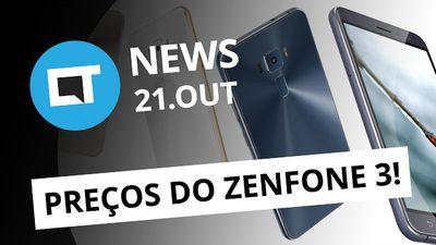 Preços do Zenfone 3 no Brasil; ações da Nintendo em queda, iPhone 7 pega fogo e
