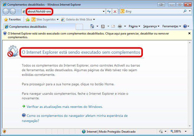 Internet Explorer sem Add-ons e Plugins