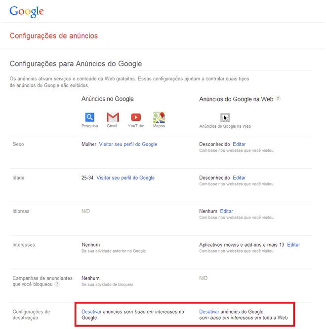 Configurações de anúncios Google