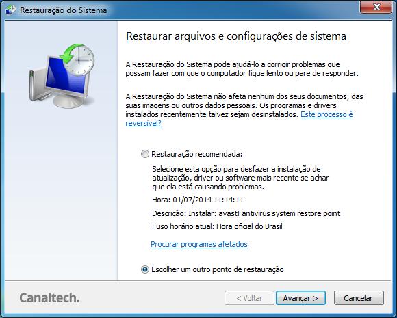 Escolha Ponto de Restauração Windows 7
