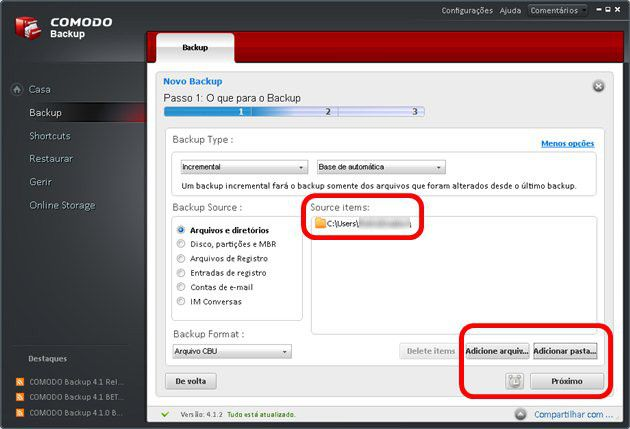 3 - Passo 1 da criação do backup - Comodo Backup