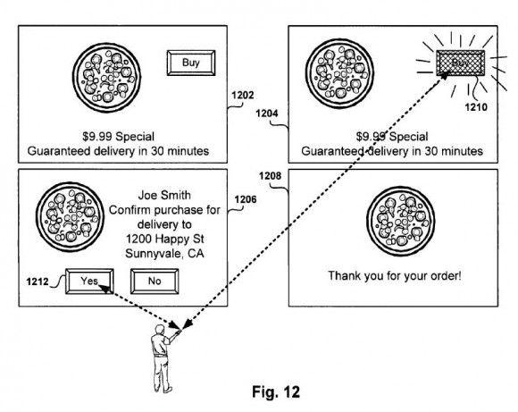 Patente Sony comercial interativo pizza